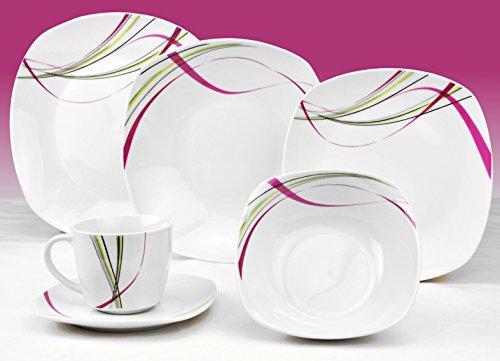 Van Well Kombiservice Fashion 124-teilig. leicht eckig Porzellan für 12 Personen weiß mit Liniendekor