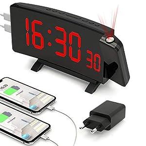 PEYOU Reloj Despertador de Proyección, Reloj Despertador Digital de 7 '', Reloj de Escritorio con Proyector, 5 Brillos Ajustables, Repetición, Alarma Dual, 2 Puertos USB, Reloj de Mesa