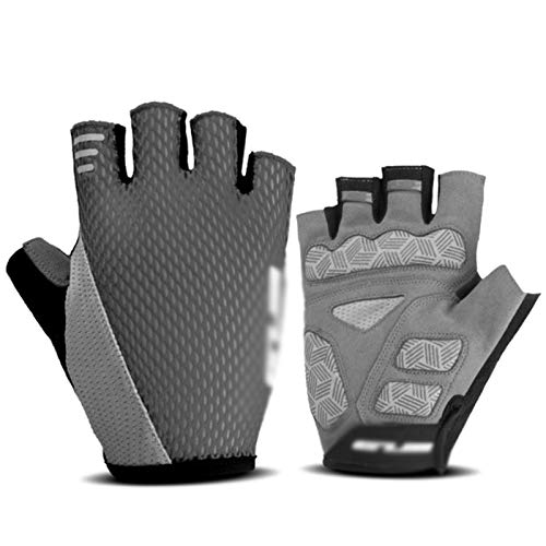 Respirable Los medios guantes de ciclismo antideslizante gel guantes de ciclo del dedo guantes de equitación camino de MTB de la bicicleta de montaña Guantes de Deporte Guantes de ciclismo antidesliza