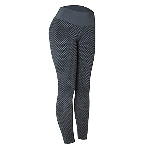 YHomU Lady Yoga Hosen Strukturierte Bauchkontrolle Hohe Taille Workout Leggings Beute Strumpfhose Damen Erwachsene Frauen MäDchen Laufen Indoor Outdoor Home Schwarz