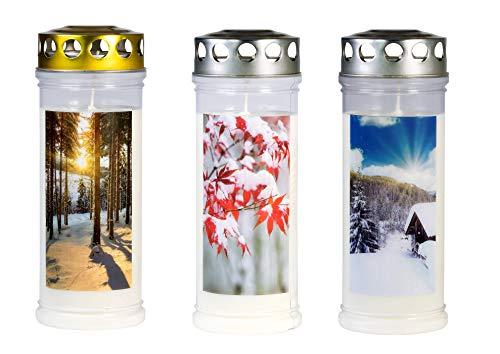 JEKA Gedenk-Kerze - Grabkerzen 3er Set mit Motiv Winter aus 100% Pflanzenöl, Brenndauer bis zu 7 Tagen