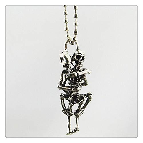 AdorabFruit Présent Pendentif 1 Unids Hombres Infinito Plata Negro Acero Inoxidable Cráneo Colgante Collar de Cadena