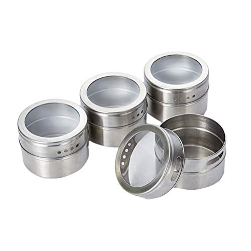 BESTonZON 6pcs Stainless Steel Sauce Dishes Seasoning Pot Magnetic Spice Jar Condiment Storage Tin Pepper Powder Container for Kitchen