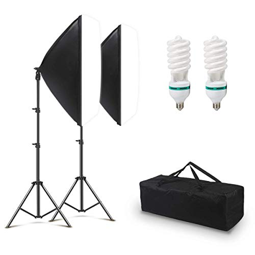 150W softbox Lighting kit for Photography Professional Photo Studio Continuous Lighting Equipment with 2 Reflectors 20 x 27 inch for Portrait and Video Shooting Photography