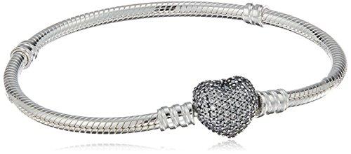 Pandora Moments Schlangen-Gliederarmband mit Funklendem Herz-Verschluss Sterling Silber, Cubic Zirkonia 590727CZ-18