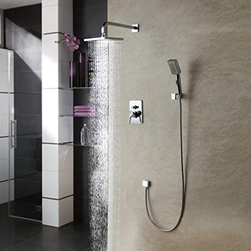 Best Deals! LightInTheBox Single Handle Wall Mount Shower Faucet with 10 Inch Showerhead and Side Ba...