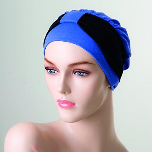 NJ Creatie Turban Paula haarband zwart muts blauw