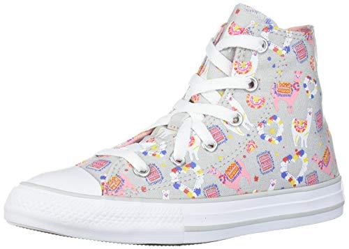 Converse Girls' Chuck Taylor All Star Llama Print High Top Sneaker, Mouse/Coastal Pink/White, 3 M US Little Kid