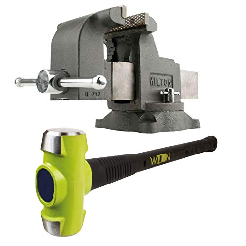 Wilton WS8 8 Inch Swivel Base Steel Bench Vise w/ 10 Pound Steel Sledge Hammer