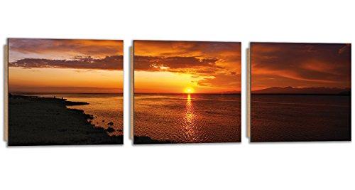Feeby Frames, Cuadro de pared - 3 partes - Panorámico, Cuadro decorativo, Cuadro impreso, Cuadro Deco Panel, 120x40cm, MAR, AGUA, ATARDECER, PAISAJE, VISTA, HIERBA, NARANJA