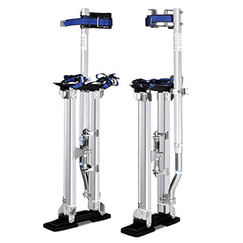 Goplus Drywall Stilts Drywall Lifts Aluminum Tool Stilt for Painting Painter Taping (18'-30', Sliver)
