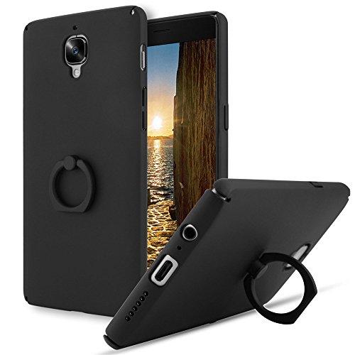 OnePlus 3T /3 Cover, Custodia OnePlus 3T con Ring Bracket Protettiva Slim PC Ultra Leggera Guscio Duro Anti-Graffio Caso Copertura Protettiva Semplice Elegante per OnePlus 3T (nero)