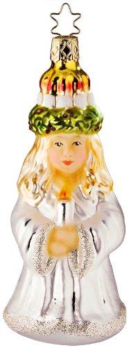 Inge-Glas Traditional Santa Lucia 1-183-09 IGM German Glass Christmas Ornament