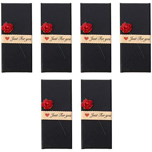 EXCEART 6Pcs Papier Schmuckschatullen Kleine Leere Papierschachteln für Lippenstift Ohrring Schmuckringe Anhänger Halsketten Schwarz