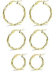 Milacolato 3 par rostfritt stål tvinnat guld silver små ringörhängen set för kvinnor 15-25 mm
