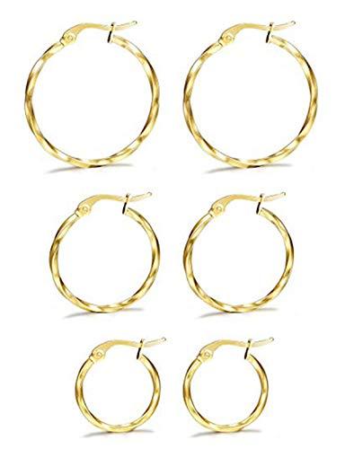 Milacolato 3 pares de pendientes de aro pequeños de plata dorada de acero inoxidable trenzado para mujer 15-25 mm