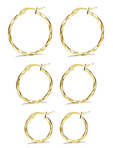 Milacolato 3 Paar Edelstahl Twisted Gold Silber Kleine Creolen Set für Frauen 15-25mm