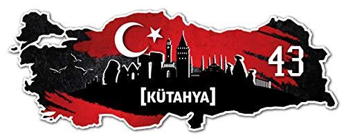 Aufkleber Sticker Türkei 43 Kütahya Motiv Fahne für Auto Motorrad Laptop Fahrrad