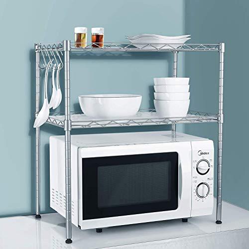 KINLO Étagère en acier carbone pour micro-ondes - Support de cuisine pour plan de travail - Étagère à épices avec 2 niveaux réglables - 2 étagères en métal - 4 crochets en S