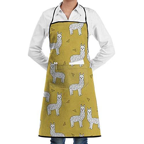 Darlene Ackerman(n) Kochschürzen Lama Senf Gelb Restaurant Schürzen Chefkoch Lätzchen Schürze für Küche Kellnerin Männer Frauen BBQ Malerei Stylist Künstler.
