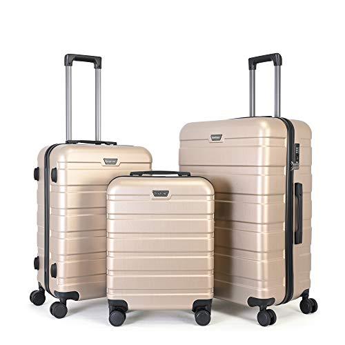 BONTOUR Kofferset Suitcase Set, Hartschalenkoffer 4 Rollen aus Polycarbonat Material mit TSA-Schloss (Gold, Kofferset 3 teilig)