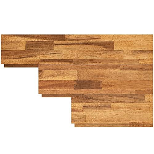 INTERBUILD acacia pannelli in legno per pareti - Installazione semplice per armature di pareti caratteristiche e progetti domestici fai-da-te, teak dorato