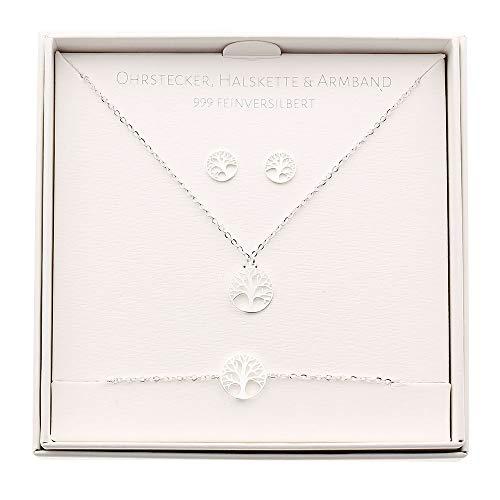 HCA Geschenkset Halskette-Armband-Ohrstecker - Motiv - Baum des Lebens - feinversilbert