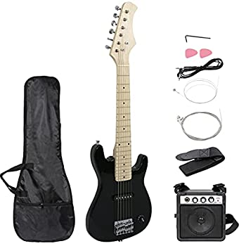 Smartxchoices 30  Black Electric Guitar with 5W Amp,Bag Case Guitar Strap Package for Beginner Starter  Black
