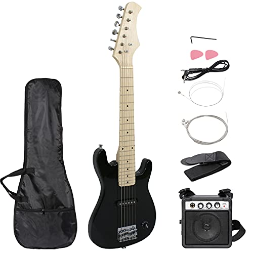 """Smartxchoices 30"""" Black Kids Electric Guitar with 5W Amp & Much More Guitar Combo Accessory Kit (Black)"""