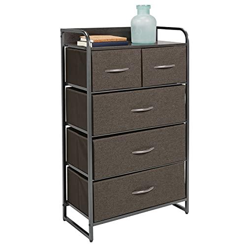 mDesign Kommode mit 5 Schubladen – hoher Schubladenschrank für Schlafzimmer, Wohnzimmer oder Flur – Kleiderkommode aus Metall, MDF und Stoff – grau