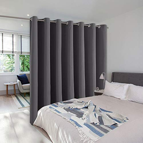 NICETOWN Wall Curtain for Bedroom, Room Divider Curtain for Doorways, Vertical Blind for Sling Door, Privacy Sound Reduction Curtains Room Dividers for Patio (Grey, 1 Panel, 8ft Tall x 12.5ft Wide)