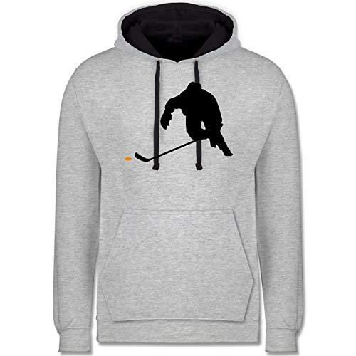 Eishockey - Eishockey Sprint - M - Grau meliert/Navy Blau - trainingstrikot Eishockey - JH003 - Hoodie zweifarbig und Kapuzenpullover für Herren und Damen