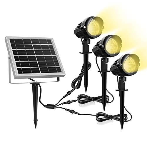 Luz Solar para Exterior, MEIKEE Foco Solar Blanca Cálido, 3000k Super Brillante Iluminación, 270º Gran Angular de Ajuste, Proyector Solar Exterior Impermeable IP66 para Jardín/Camino/Terraza