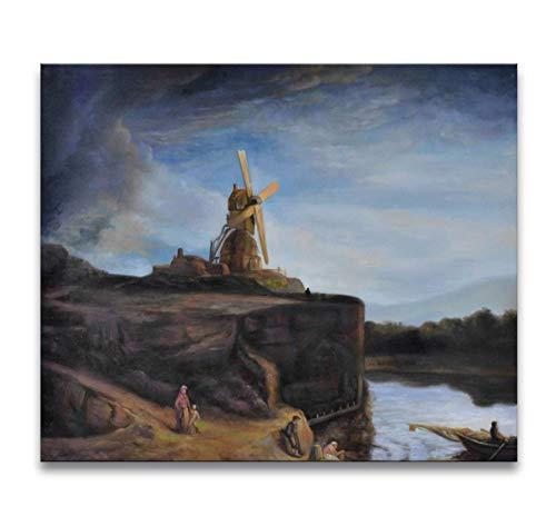 Handgeschilderd Olieverf op Canvas - Rembrandt van Rijn 'Molen bij Gorkum'