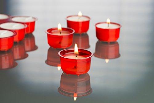 Cup Candle 72 Teelichter XXL-Box im farbigen Acryl Cup Rot Click & Light, ohne Duft, Kerzen, Teelicht Translucent Cup, Sparpack, Großpackung