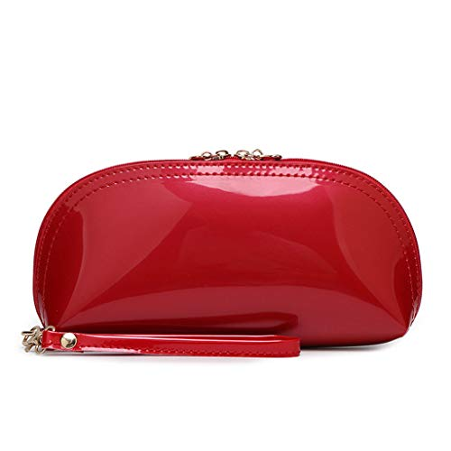 XTYaa - Bolsa de viaje para cosméticos, de piel, con cremallera, bolsa de maquillaje, bolsa de mano, organizador de bolsos