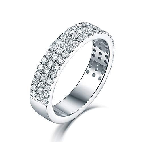 KnSam Anillo de mujer de 3 líneas con diamantes de ajuste de pavimento, anillo de oro blanco de 18 quilates (750), anillo para parejas, anillo blanco, amarillo y oro amarillo 49 (15,6)