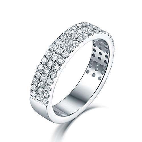 Aartoil 18K White Gold Wedding Bands for Women 3 Lines Diamonds Pave Setting Promise Engagement Ring Birthday Anniversary Gift (Size U 1/2) (Main Stone: 0.77ct Diamond)