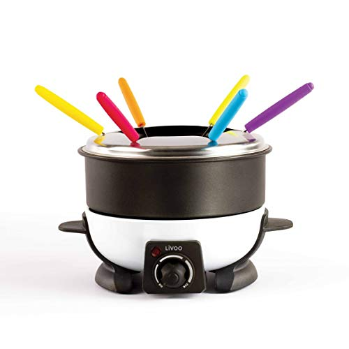 Livoo - Macchina da fonduta a 6 persone | Capacità 1,6 L | 6 forchette incluse | Termostato regolabile | 500 Watt DOC106 Nero