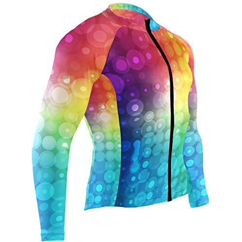 SLHFPX Colorful Rainbow Geometric Polka Dots Mens Cycling Jersey Top Long Sleeve Outdoor Bicycle Apparel Outfit