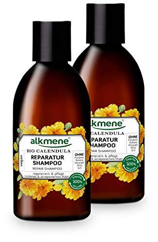 alkmene Reparatur Shampoo mit Bio Calendula - Haarshampoo für trockenes & strapaziertes Haar - veganes Shampoo ohne Silikon, Parabene, Mineralöl, SLS & SLES - Haarpflege im 2er Pack (2x 250 ml)