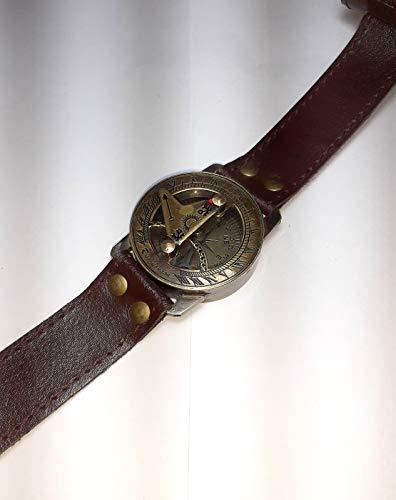 Reloj de pulsera Steampunk con brújula de latón y reloj de sol con correa de piel
