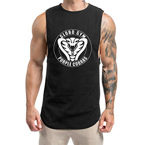 O2TEE Globo Gym Cobras Mens Bodybuilding Weight Lifting Workout Tank Tops,Black,Large