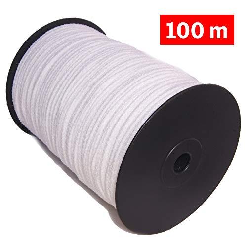 Cordón elástico redondo para costura blanco 100M, 3mm de ancho, cuerda de goma para confección y manualidades. Rollo de cinta elástico para costura. (100 m)