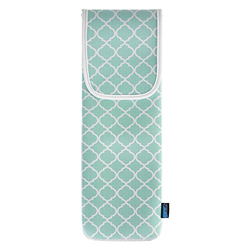 Bluecell Aqua Blue Quatrefoil Water-resistant Neoprene Curling Iron Holder Flat Iron Curling Wand Travel Cover Case Bag Pouch 15 x 5 Inches