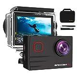 Apexcam 4K Caméra Sport WiFi Ultra HD 20MP Caméra Etanche 2' LCD 40M sous-Marine 170 °Grand-Angle Action Cam avec Selfie Stick 2 * 1050mAh Batteries et Kit d'Accessoires pour Cyclisme Natation