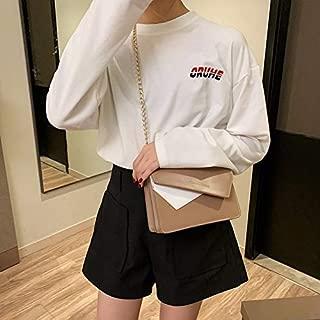 Fashion Single-Shoulder Bags Color Matching Casual Small Square Bag Chain-Strap Single Shoulder Bag Ladies Handbag Messenger Bag (Black) (Color : Khaki)