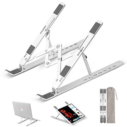 HaiYan Laptop Stand, Portable Aluminum Laptop Computer Stand Tablet Stand, Ergonomic Adjustable Laptop Cooling Desk Holder 7-Levels Notebook Riser Tray Compatible with 10-15.6' Laptop Tablet (Silver)