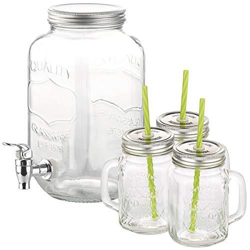 PEARL Getränkespender Glas: 4-teiliges Set aus Getränkespender und 3 Trinkgläser im Retrolook (Retro Getränkespender)