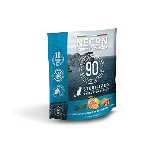 Necon Pet Food Natural Wellness Sterilizzato Pesce Bianco & Riso 400 g, Cibo per Gatti Sterilizzati, Crocchette Low Grain ricche Omega 3, qualità Super Premium, Made in Italy, Senza Glutine